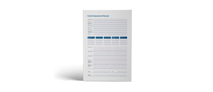 Sample COSHH Assessment Record